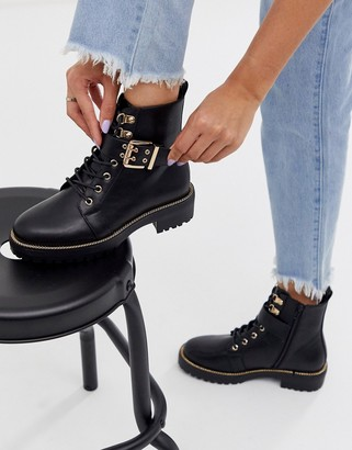 ASOS DESIGN Armour chain lace up boots in black