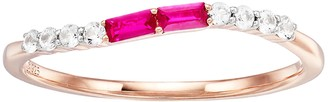 Unbranded 14k Rose Gold Over Silver Lab-Created Ruby & Lab-Created White Sapphire Wave Ring