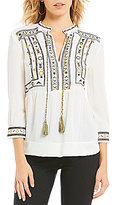 Gibson & Latimer Babydoll Embroidered Blouse