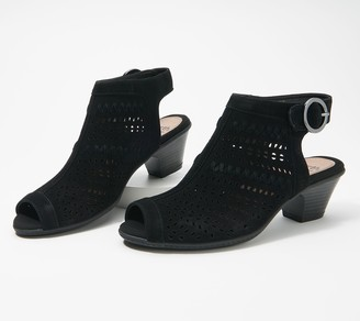 Earth Suede Cut-Out Heeled Sandals - Carson Hamden
