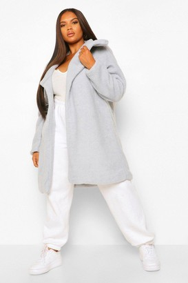 boohoo Plus Teddy Faux Fur Midi Coat