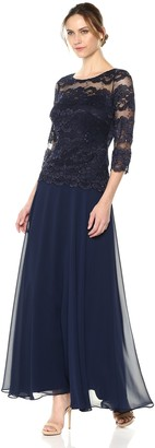 Sangria Women's Illusion Lace Bodice Gown