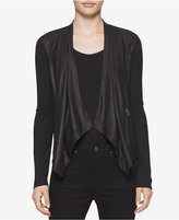 Calvin Klein Jeans Draped Faux-Leather Cardigan