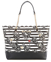 Betsey Johnson Glam Garden Scalloped Striped Floral Tote