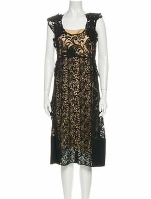 Prada Lace Pattern Midi Length Dress Black