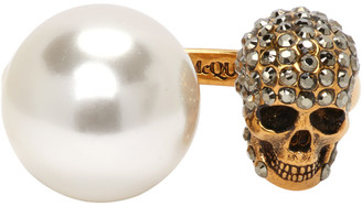 Alexander McQueen Gold Pearl and Skull Ring