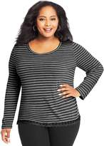Just My Size Plus Size Lace Trim Long Sleeve Top