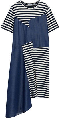 Clu Asymmetric Striped Cotton-jersey And Tencel-chambray Dress
