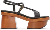 Stella McCartney Black Wood Platform Sandals