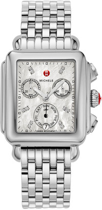 Michele Deco 18 Stainless Steel Diamond Detail Watch