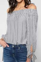 7 For All Mankind Striped Off Shoulder Tie Top In Grey And White