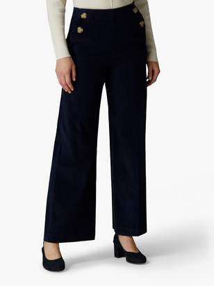 Jaeger Wide Leg Cord Trousers, Navy