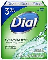 Dial Antibacterial Deodorant Bar Soap, Mountain Fresh, 4 Ounce Bars, 3 Count (Pack of 3)