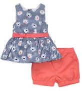 Little Me Little Girls Two-Piece Floral-Print Dress and Solid Shorts Set