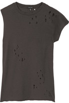 R 13 Asymmetric Distressed Cotton And Cashmere-Blend T-Shirt
