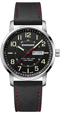 Wenger Men's Sport Stainless Steel Swiss-Quartz Watch with Leather Strap
