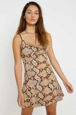 Urban Outfitters Snakeskin Sequin Cowl Neck Mini Dress - brown XS at