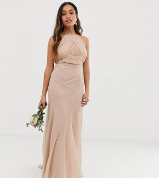 Asos DESIGN Petite Bridesmaid pinny bodice maxi dress with fishtail skirt-Pink