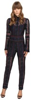Yigal Azrouel Rose Embroidered Lace Jumpsuit w/ Bell Sleeves