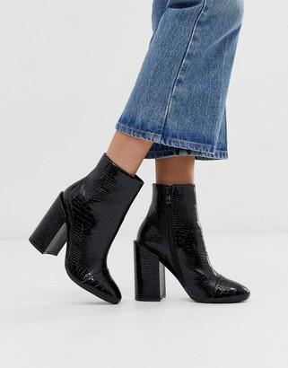 Raid RAID Dolley black croc patent heeled ankle boots