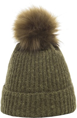 Heritage Traditions Soft Touch Rib Faux Fur Pom Pom Beanie Bobble Hat (Pink)