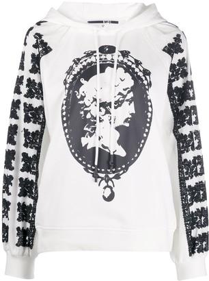 McQ Cameo Print Textured Sleeve Hoodie