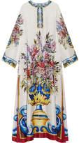 Dolce & Gabbana Printed Silk-twill Kaftan - Blue