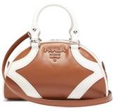 Prada Bowling Leather Handbag - Womens - Tan White