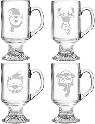 Susquehanna Glass Fuzzy Friends Footed Set Of Four 10Oz Mugs