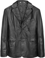 Forzieri Black Leather Men's Blazer