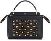 Fendi Dotcom Studs Calfskin Leather Satchel - Black