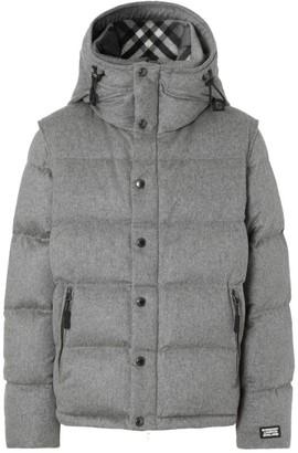Burberry Cashmere Detachable-Sleeve Puffer Jacket