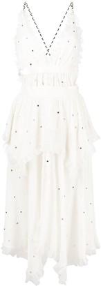 Philosophy di Lorenzo Serafini Rhinestone-Embellished Frilled Tiered Dress