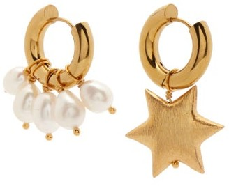 Timeless Pearly Mismatched Star & Pearl Gold-plated Hoop Earrings - Gold