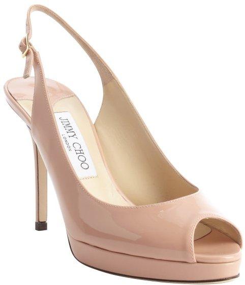Jimmy Choo pink patent leather peep toe 'Nova' slingback pumps