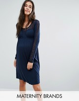 Mama Licious Mama.licious Mamalicious Long Sleeve Swing Dress With Lace Insert