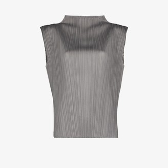 Pleats Please Issey Miyake High Neck Plisse Top