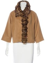 Adrienne Landau Fur-Accented Wool Jacket