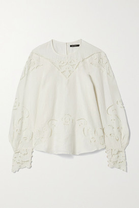 Isabel Marant Emmett Guipure Lace-trimmed Embroidered Linen Blouse - Ivory