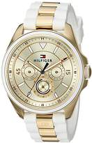 Tommy Hilfiger Women's 'SOPHISTICATED SPORT' Quartz Silver and Gold and Silicone Casual Watch, Color:White (Model: 1781772)