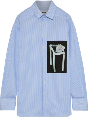 Each X Other Printed Striped Cotton-poplin Shirt