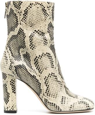 Paris Texas Python-Effect 100mm Ankle Boots