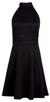 Dorothy Perkins Womens **Black Lace Halter Neck Skater Dress, Black