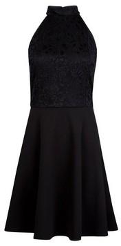 Dorothy Perkins Womens Black Lace Halter Neck Skater Dress, Black