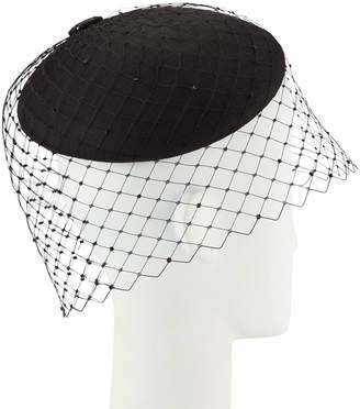Philip Treacy Straw Beret w/ Crystal Studded Widow Veiling