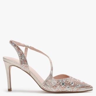 Menbur Tarantasca Gold Metallic Diamante Sling Back Court Shoes