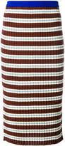 Marni striped ribbed mid skirt