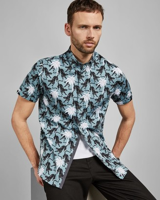 Ted Baker Panther Print Short Sleeved Cotton Shirt