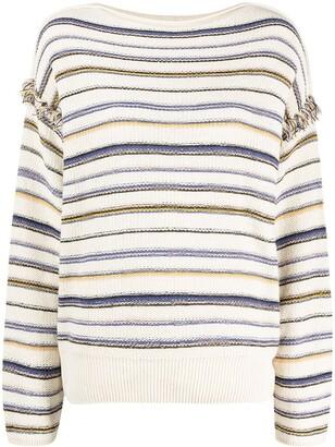 Closed Horizontal-Stripe Long-Sleeve Top