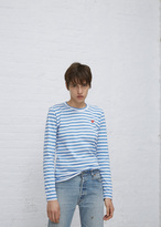 Comme des Garcons white / blue stripe long sleeve small red heart t-shirt